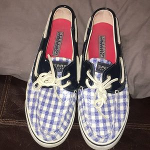 6.5 Sperry's Bahama blue sequined shoes